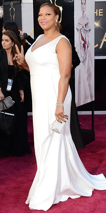 Queen Latifah went with a flowing white gown