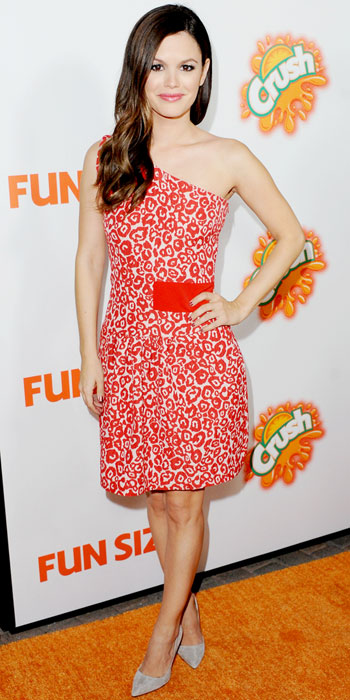 Rachel Bilson attended the premiere of Fun Size in a red animal print Preen dress