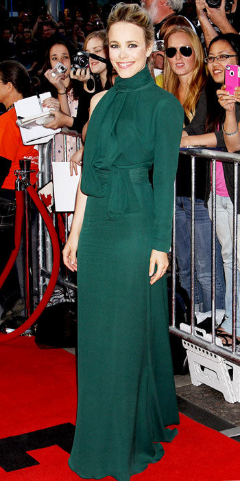 Rachel McAdams took a risk in a one sleeved Elie Saab gown while attending the premiere of The Wonder