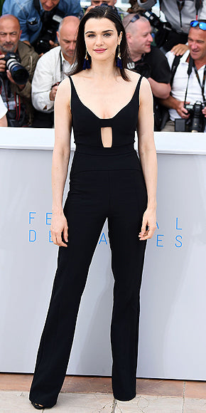Rachel Weisz in a sexy Narciso Rodriguez jumpsuit at the photocall for The Lobster.
