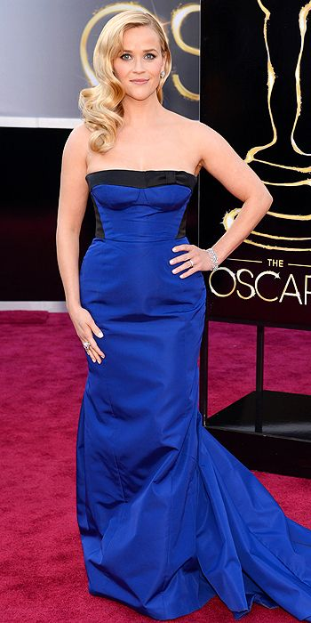 Reese Witherspoon also went for color in shocking cobalt blue