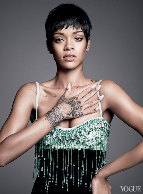 Rihanna sports a pixie for her third Vogue cover