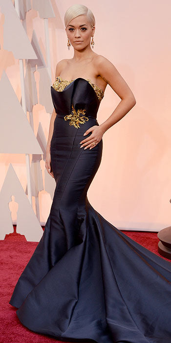 Rita Ora's mermaid Vera Wang gown was elegantly cut to elongate and accentuate.