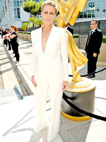 Robin Wright also looked chic in a minimalist Ralph Lauren jumpsuit but unfortunately both her  hair and makeup took away from the look she was going for.