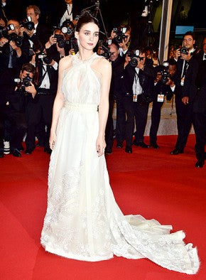 Rooney Mara in a flowing white halter gown.