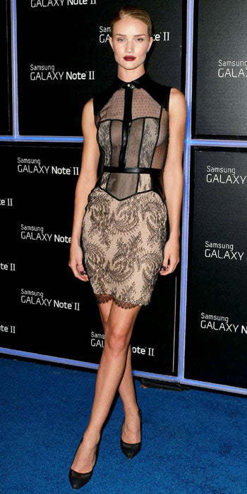 Rosie Huntington Whiteley smoulders at a Samsung launch event in lacy and sheer Jason Wu