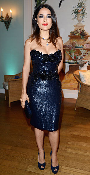 Salma Hayek Pinault sparkles in Gucci at a dinner party hosted by the label