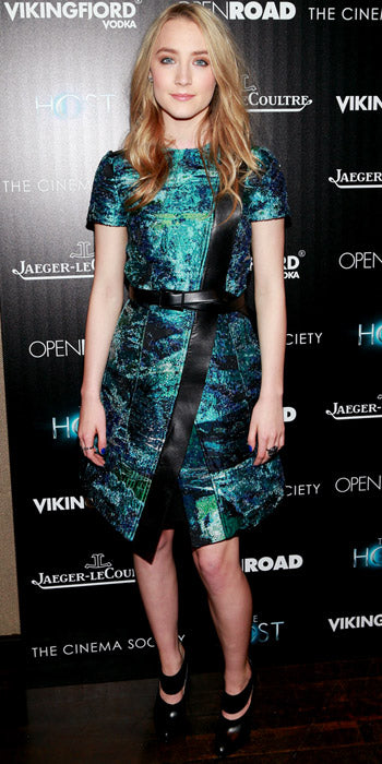 Saoirse Ronan opted for a watercolor print  Proenza Schouler print dress at a screening of her latest film -- The Host