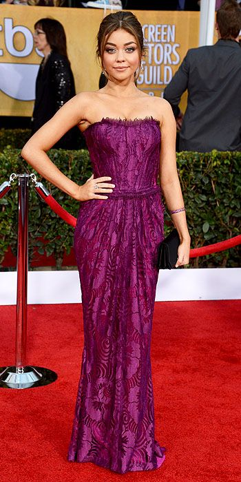 Sarah Hyland also went for goddess style Marchesa which she helped co-design at the 2012 Emmy Awards