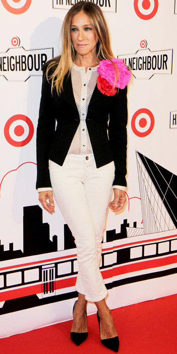Sarah Jessica channeled Carrie Bradshaw in a flower powered look at a Target event