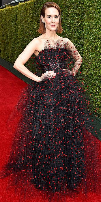 "We love that Sarah Paulson often opts for a little whimsy but this dress was a little too ""Halloween"" for our taste."