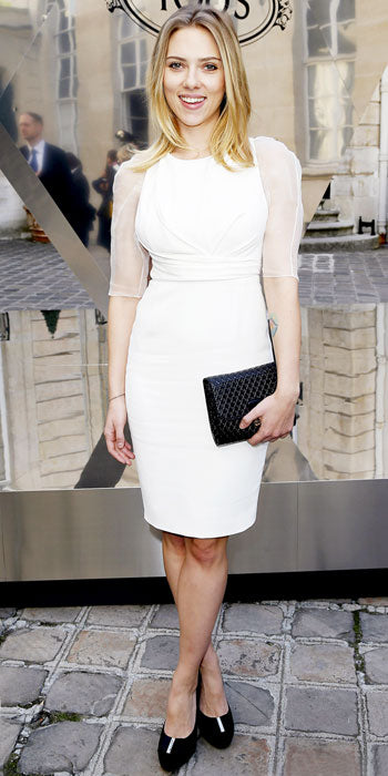Scarlett Johansson is angelic in white Dior at a Tod's event in Paris