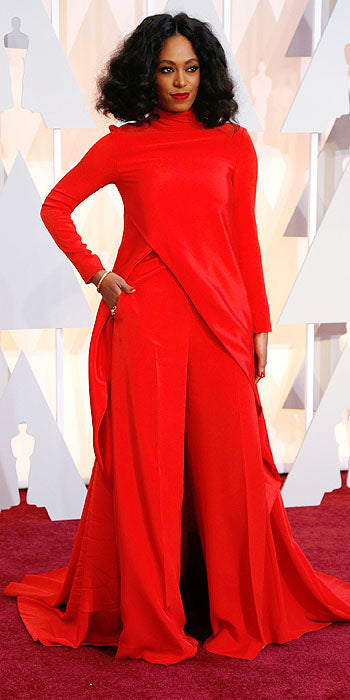 Solange Knowles' look also missed the mark. The usually on point fashionista looked overwhelmed in her  Christian Siriano ensemble. A combo of too much red and too much volume killed this look for us.