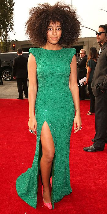 Solange Knowles opted for green sequin dress with side slit