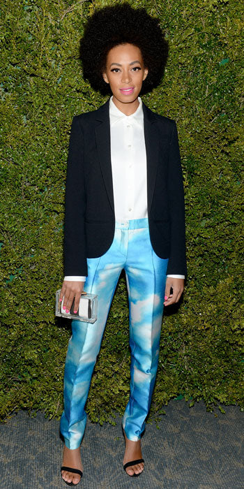 Solange Knowles looked ultra chic in a pair of cloud print pants and tuxedo jacket by Michael Kors