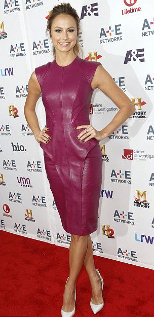 Stacy Keibler in plum colored leather