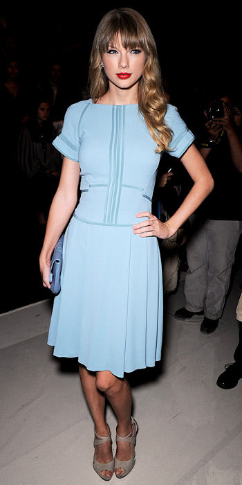 Taylor Swift is pretty in blue Elie Saab at the designer's Paris collection showing