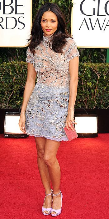 Thandie Newton shined in a sparkling lavender mini