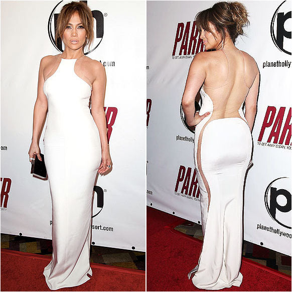 The queen of skin Jennifer Lopez in sheer paneled KaufmanFranco