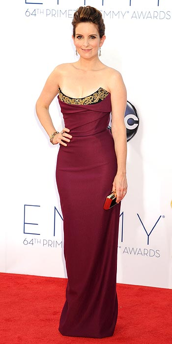 Tina Fey arrives at the 2012 Emmy Awards and hits a fashion high note in a curve hugging Vivienne Westwood number