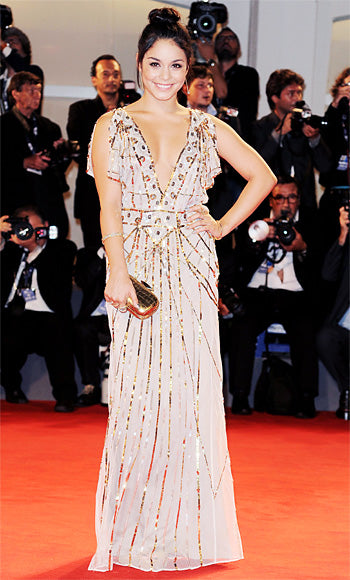 Vanessa Hudgens stepped out for the premiere of Spring Breakers in an embellished Temperley London gown