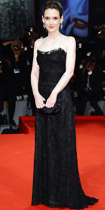 Wynona Ryder attended the Venice Film Festival premiere of The Iceman in a lace Dolce & Gabbana gown