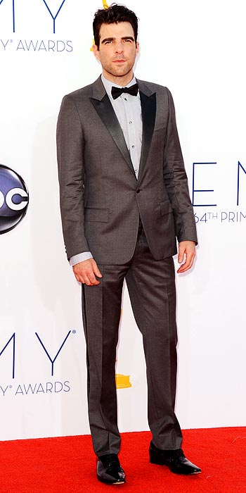 Zachary Quinto went for gray and a light blue shirt at the 2012 Emmy Awards