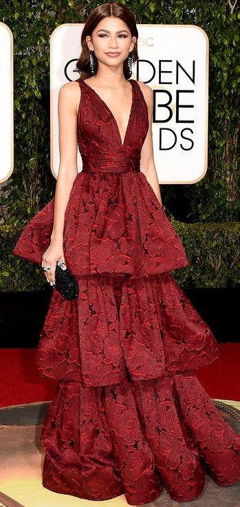 Zendaya stunned in a tiered Marchesa creation.