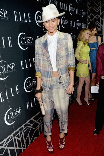 Zendaya rocked a plaid suit at the event.