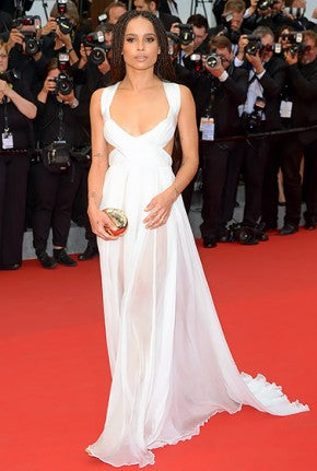 Zoe Kravitz attended the Mad Max: Fury Road premiere in a sheer white Valentino gown.
