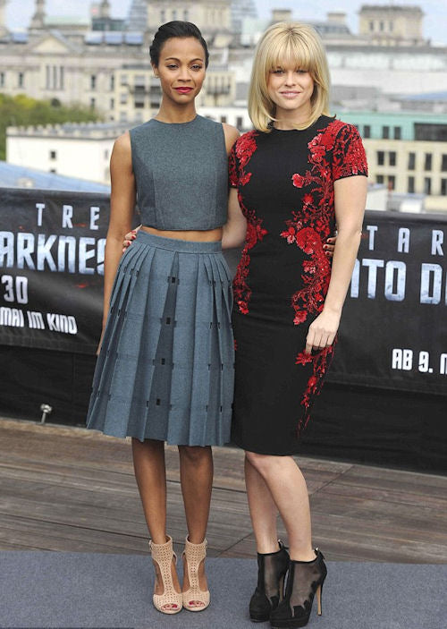 Zoe Saldana and Alice Eve attend a photocall for Star Trek Into the Darkness in Berlin