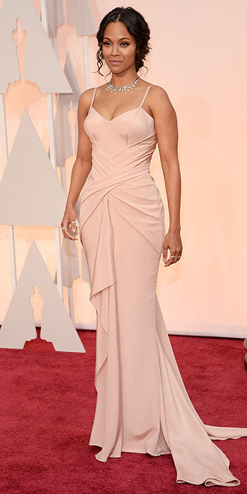 New mom, Zoe Saldana stepped out in Atelier Versace.