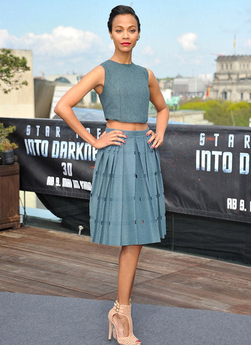 Zoe Saldana showed off some skin in Calvin Klein