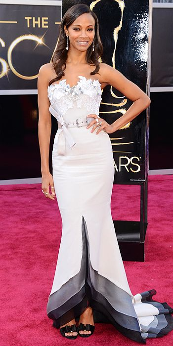Zoe Saldana went for an embroidered bust instead in Alexis Mabille Couture