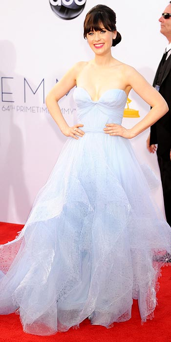 Zooey Deschanel looked beautiful and light in powder blue Reem Acra at the 2012 Emmy Awards