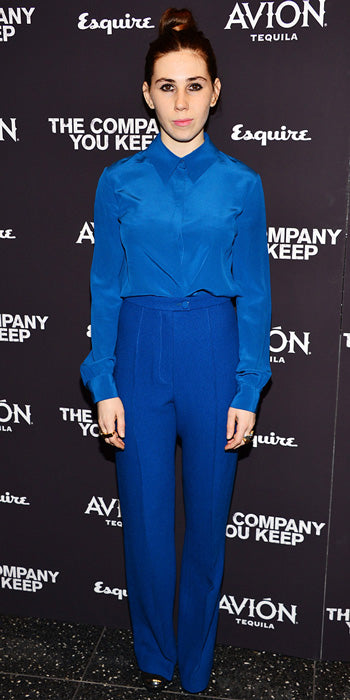 Zosia Mamet in head to toe cobalt blue