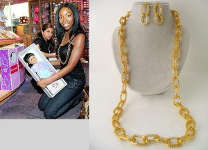 Brandy rocks a gold link necklace while out shopping ; to the right is a much less expensive version from Rue de Chic