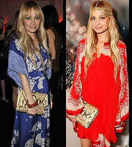 Nicole Richie is bohemian chic accessorizing with this fabulous clutch