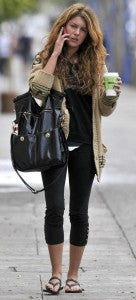 90210's Shenae Grimes carries a stylish long tote around Hollywood