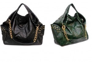 "Rue de Chic's ""Mimi"" Satchel in Black & Green"