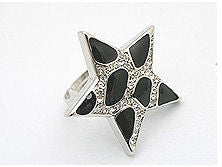 Black Star Shaped Cocktail Ring