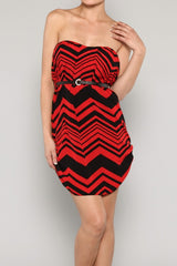 Strapless Chevron Print Dress