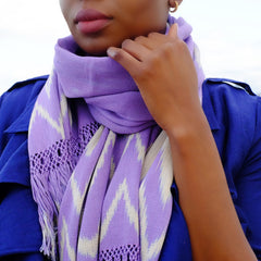 Hand woven and Hand dyed Lavender Ikat Scarf