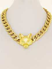 Gold Link Necklace With Fox Pendant