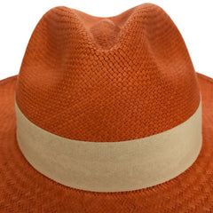 Handwoven Orange Panama Straw Hat