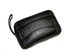 Black Leather Shaving Bag