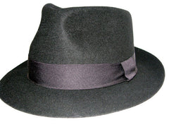 Black Wool Fedora with Flat Ribbon