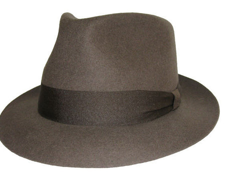 Light Olive Green Wool Fedora with Brown Ribbon