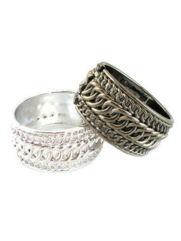 "Silver / Pewter ""Jolie"" Link Print Bangle"