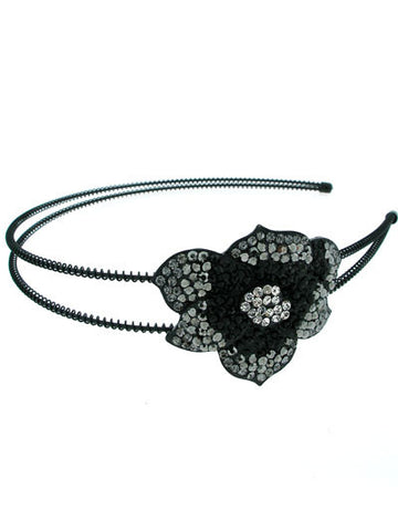 "The Black ""Fiona"" Flower Headband"